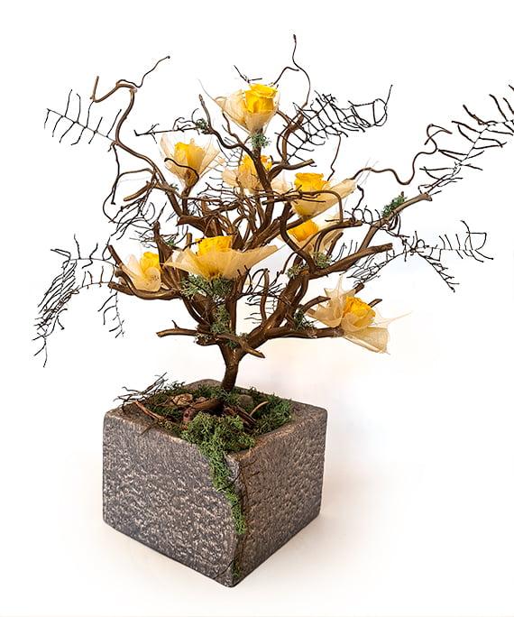 Bonsai uscat cu mini trandafiri criogenati 1