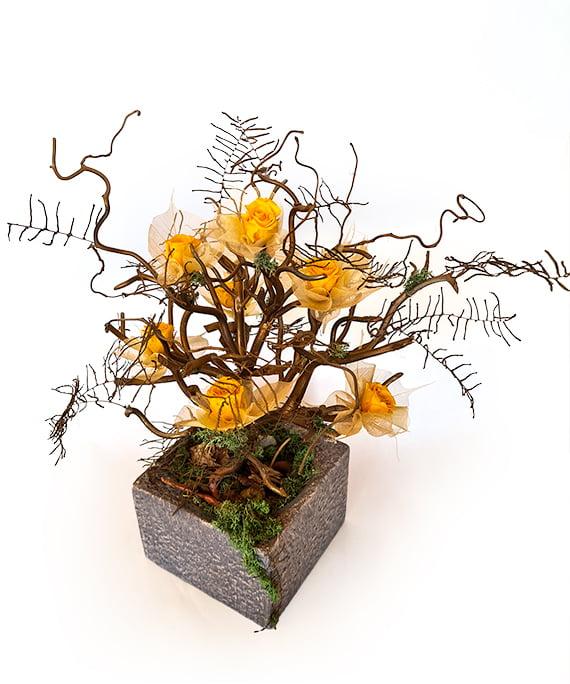 Bonsai uscat cu mini trandafiri criogenati 3