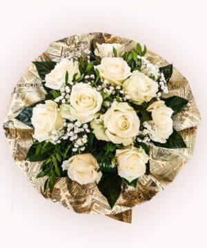 Buchet din 11 trandafiri albi 1