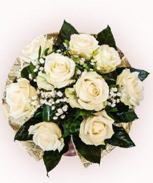 Buchet din 9 trandafiri albi 1