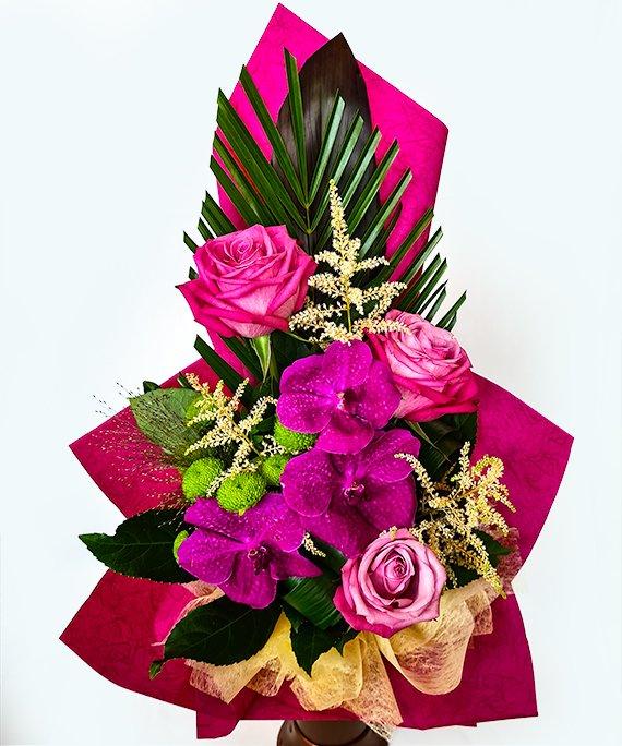 Buchet trandafiri si Vanda 1