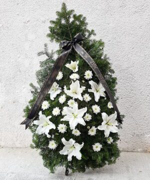 Coroana funerara crin si crizantema 1