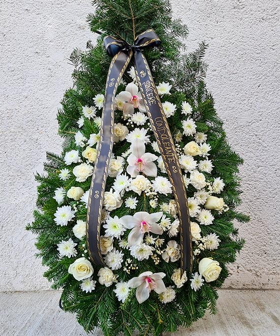Coroana orhidee si trandafiri albi 2