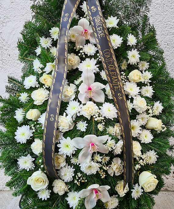 Coroana orhidee si trandafiri albi 3