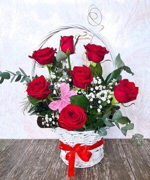 Cos cu trandafiri rosii 1