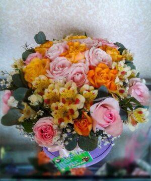 Cutie rotunda cu flori pastel 2
