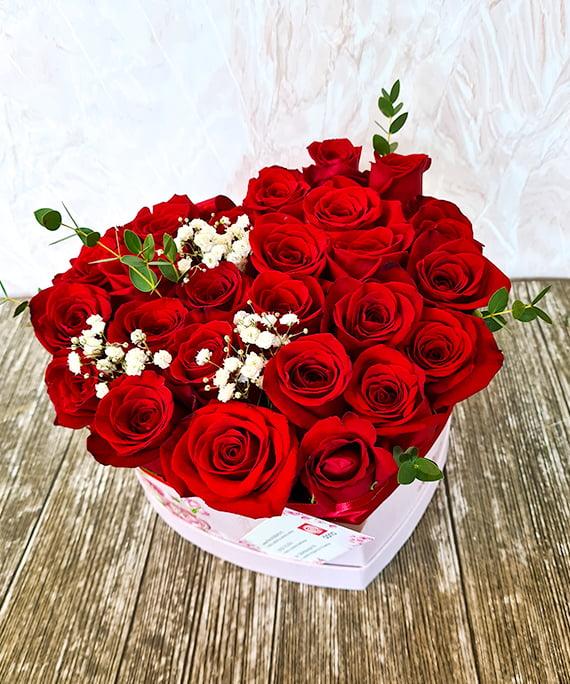 Inimioara 25 trandafiri rosii 1