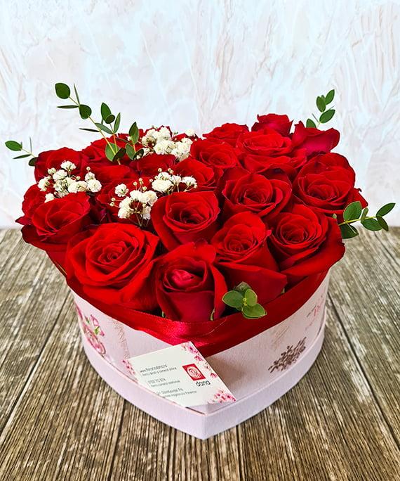 Inimioara 25 trandafiri rosii 2