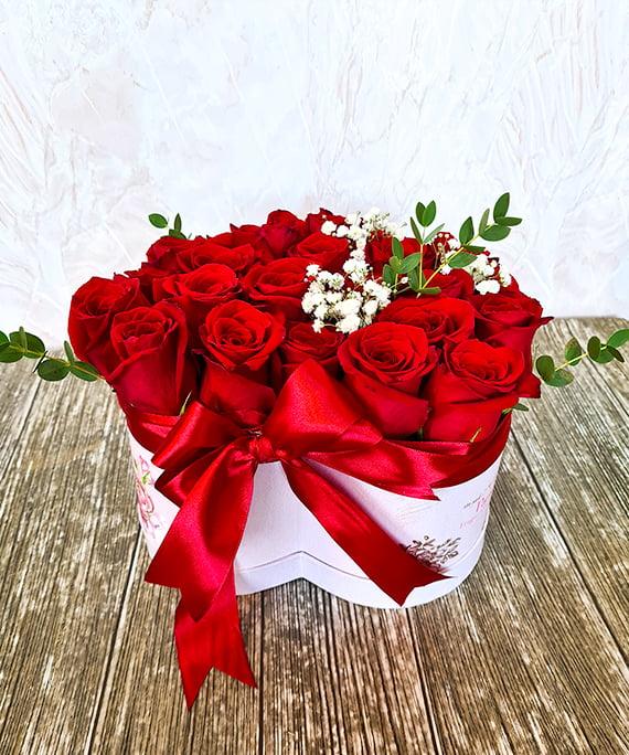 Inimioara 25 trandafiri rosii 3