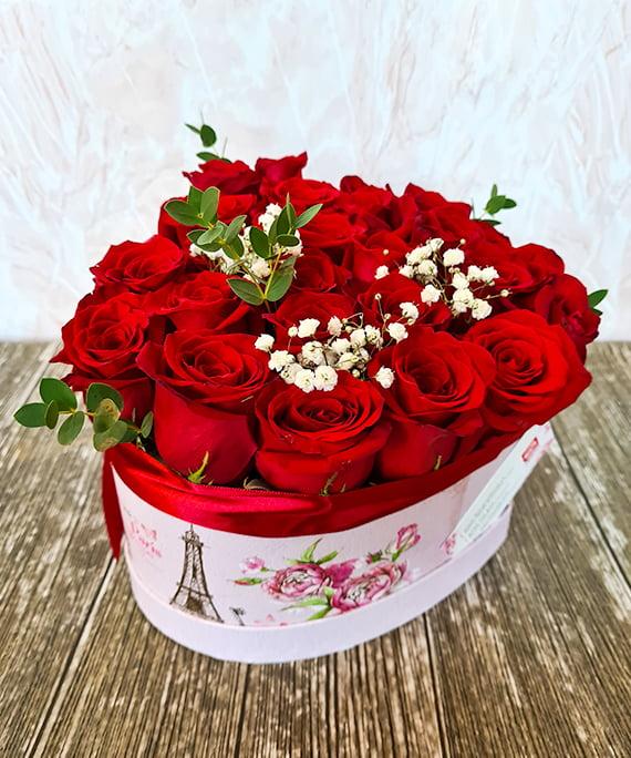 Inimioara 25 trandafiri rosii 5