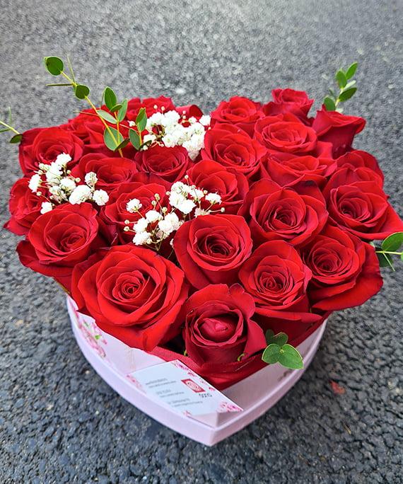 Inimioara 25 trandafiri rosii 7