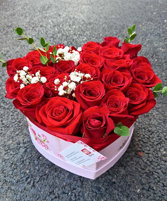 Inimioara 25 trandafiri rosii 8