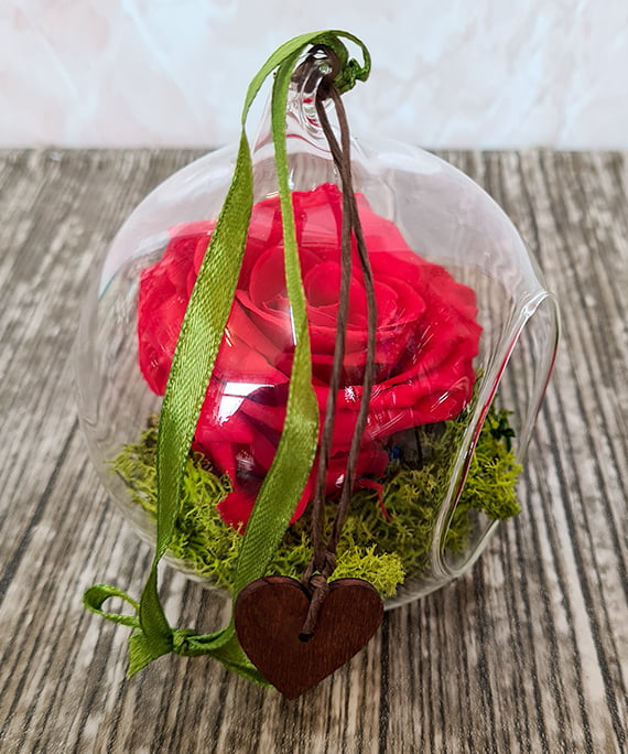 Trandafir criogenat rosu in glob 3