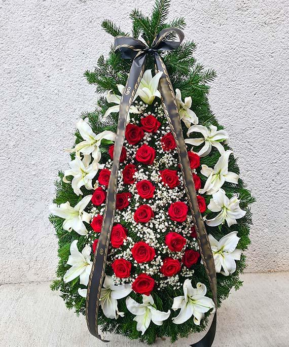 Coroana funerara crin si trandafir rosu 1
