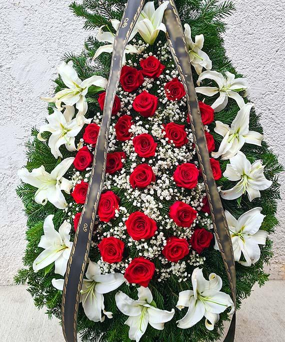 Coroana funerara crin si trandafir rosu 2