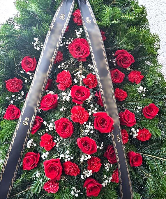 Coroana funerara rosie 2